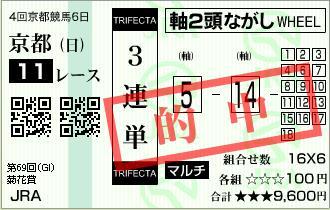 菊花賞 3連単的中馬券 オウケンブルースリ